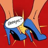 Oops broke heel woman nasty surprise pop art comics retro style — Stock Vector