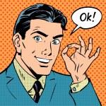 Businessman says okay success pop art comics retro style Halfton — Stock Vector #70184827
