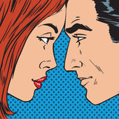 Man and woman looking at each other face pop art comics retro st — Stock Vector