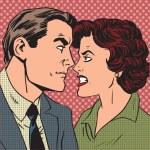 Conflict man woman family quarrel love hate pop art comics retro — Stock Vector #72241069