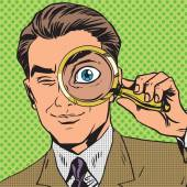 The man is a detective looking through magnifying glass search p — Stock Vector