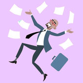 African businessman rejoices luck success — Stock Vector