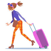 Tourist woman walking with a suitcase journey — Stock Vector