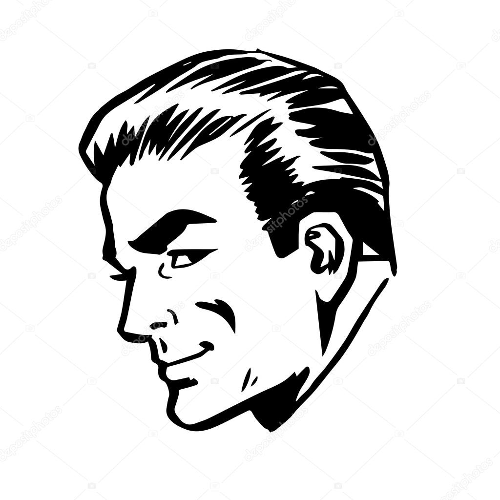Sourire de dessins au trait r tro homme profil t te visage - Dessin profil visage ...