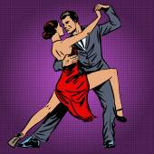 Man and woman passionately dancing the tango pop art — Stock Vector