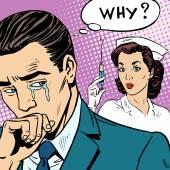 Illness medicine injection syringe man cry — Stock Vector
