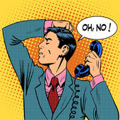 Depressed man talking phone communication — Stock Vector