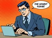 Concepto de negocio de servicio. Hombre de negocios con computadoras, dice una madre — Vector de stock