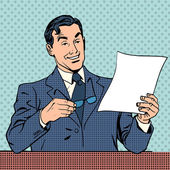 Man reads document report businessman scientist — Stock Vector