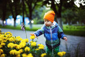 A little cute toddler boy is straining hands towards the flowers — Stock Photo