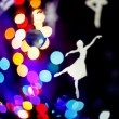 Christmas colourfull blurred lights background with a paper danc — Stock Photo #70996371