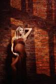 A beautiful glamour pregnant woman in long brown dress holding b — Stock Photo