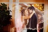 美丽婚礼情侣接吻在室内镜子背景的面纱所述的特写肖像。爱和家庭的观念 — 图库照片