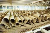 Closeup image of pleat cardboard row at factory background. — Stock Photo