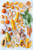 Orange hue toned collection fresh produce — Stock Photo