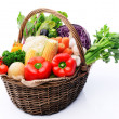Basket of organic fresh produce from farmers market  — Stock Photo #64038253