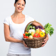Happy woman with freshly harvested produce  — Stock Photo #64038283