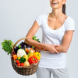 Happy healthy woman with vegetables  — Stock Photo #64038301