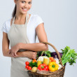 Woman returning from the farmers market — Stock Photo #64038381