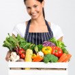Chef with fresh  vegetables — Stock Photo #64038435