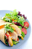 Chicken wrap on plate with side salad  — Stock Photo