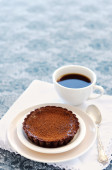 Appetising chocolate dessert with coffee — Stock Photo