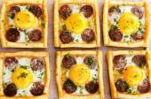 Top down perspective of savoury tarts — Stock Photo