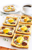 Platter of savoury tarts — Stock Photo