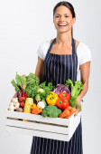 Chef with fresh  vegetables — Stock Photo