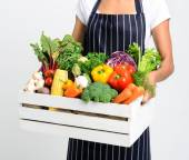 Chef with fresh local organic produce — Stock Photo