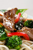 Beef strips stir fry macro  — Stock Photo