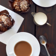 Cups of coffee with two muffins — Stockfoto #65454993
