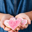 Pink heart sugar cookies for valentines day — Stock Photo #65455075