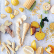 Fresh yellow vegetables and fruits — Stock Photo #65455719