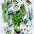 Collection of fresh green vegetables — Stock Photo #65456981