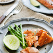 Gourmet salmon meal with asparagus and lime — Stock Photo #65458729