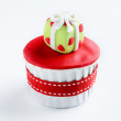 Christmas cupcake  with present gift box — Stock Photo #65458757