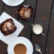 Cups of coffee with two muffins — Stock Photo #65459255