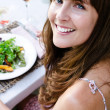 Woman with healthy green salad — Stock Photo #65459401