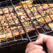Grilling fish at a barbecue — Stock Photo #65459577