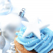 Cup cake with christmas bauble — Stock Photo #65459595