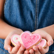 Pink heart sugar cookies for valentines day — Stock Photo #65459633