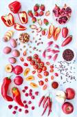 Red fresh produce vegetables and fruits — Stock Photo