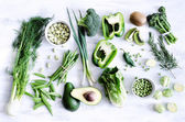 Collection of fresh green vegetables — Stock Photo