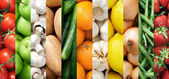 Colourful fruit and vegetable backgrounds collage — Stock Photo