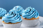 Blue cupcakes with silver decorations — Stock Photo