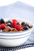 Bowl of cereal with fresh fruits — Stock Photo
