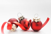 Festive red christmas bauble  — Stockfoto