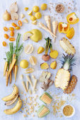 Yellow white toned vegetables and fruits — Stock Photo
