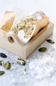 Salt garnish flavoured with nuts and seeds  — Stock Photo